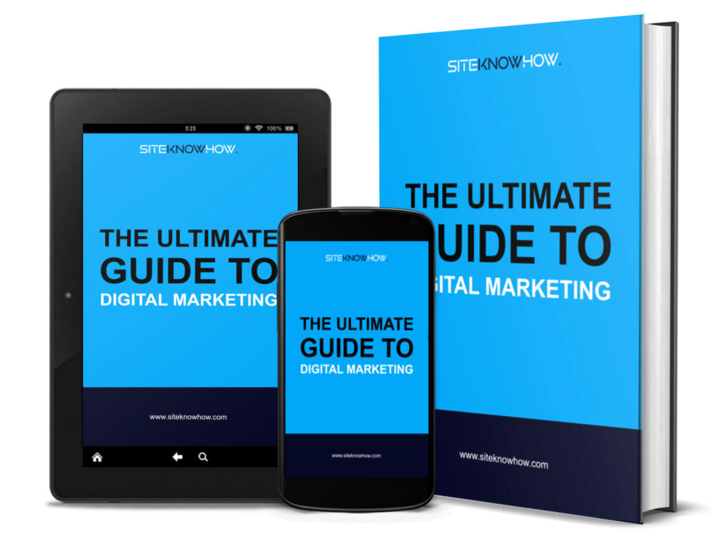 The ultimate guide to digital marketing e-book cover mock-up on book, tablet and smartphone