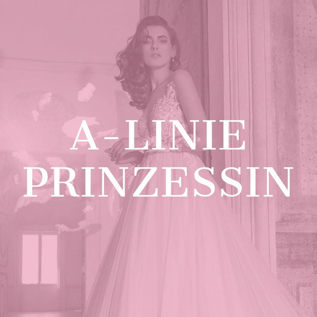 Model in einem A-Linie Prinzessin Brautkleid im Schloss