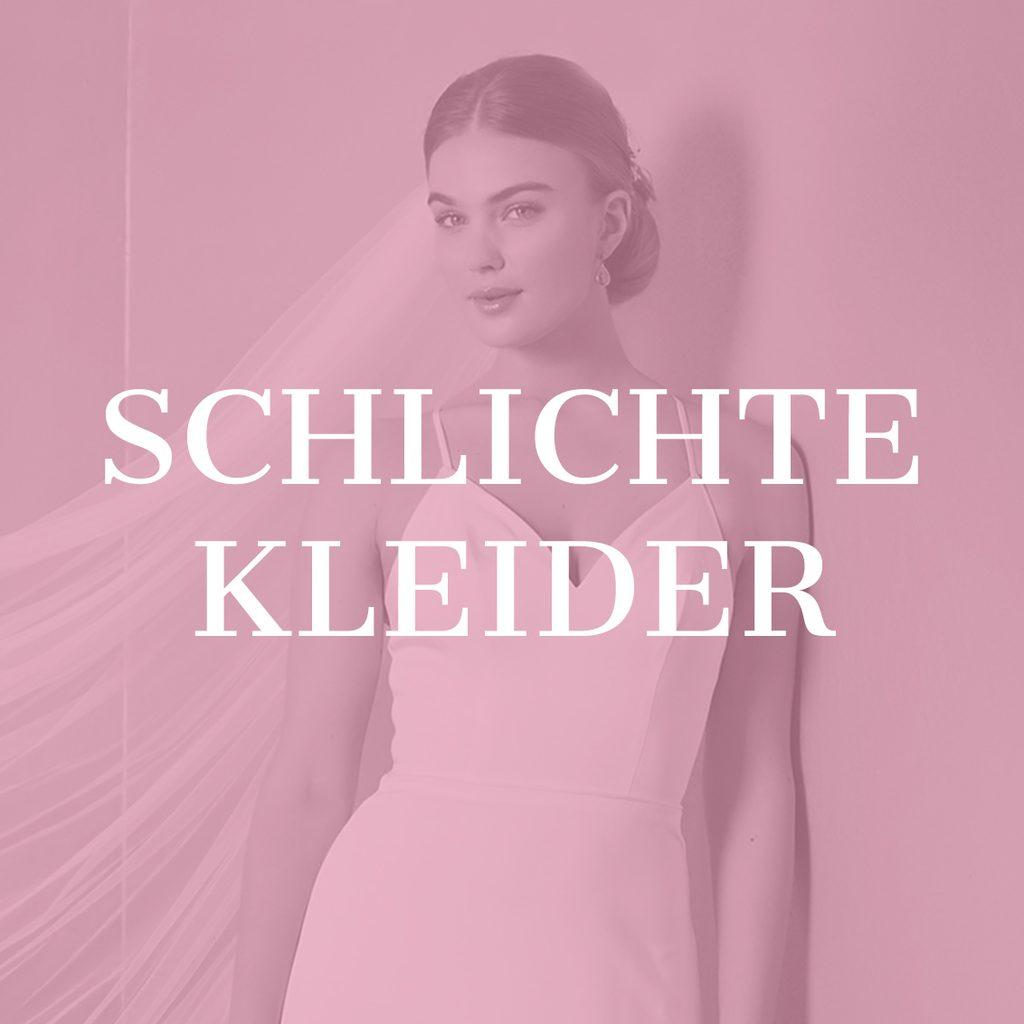 Model in schlichtem figurbetonten Brautkleid mit langem wehenden Schleier