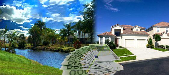 Frischwasserkanal und amerikanische Villa in Südwest Florida auf der Rotonda Halbinsel