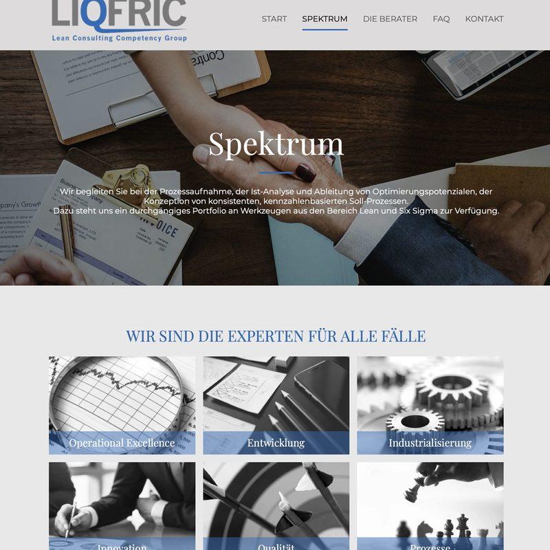 LIQFRIC Consulting   Laufende Beratung, Erstellung der Website und Corporate Communication