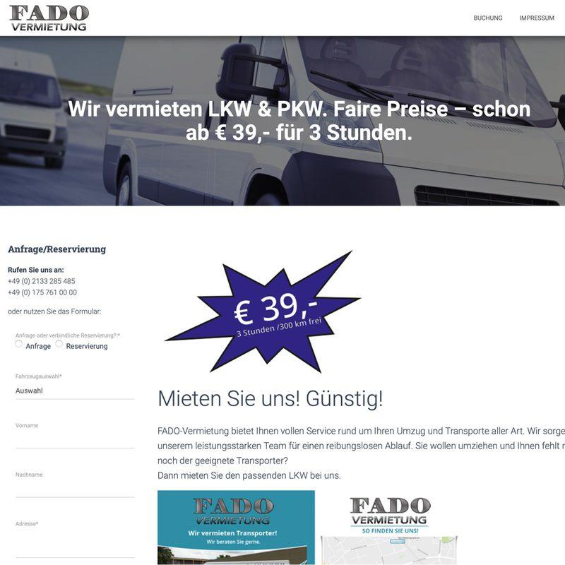 Fado Autovermietung   Website mit Buchungstool für Leihfahrzeuge (WordPress)
