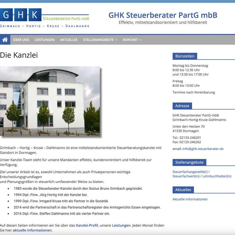 Steuerberater-Dormagen.de Grimbach ‑ Hortig ‑ Kruse ‑ Dahlmanns Steuerberater PartG mbB   Website für Steuerberater-Kanzlei