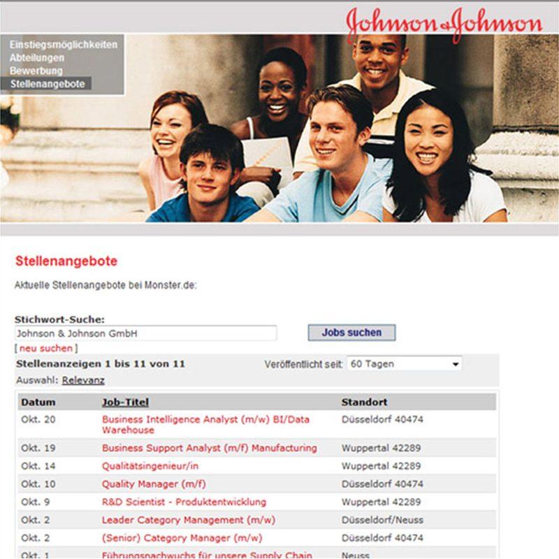 Johnson & Johnson   Company-Website mit HR-Tool