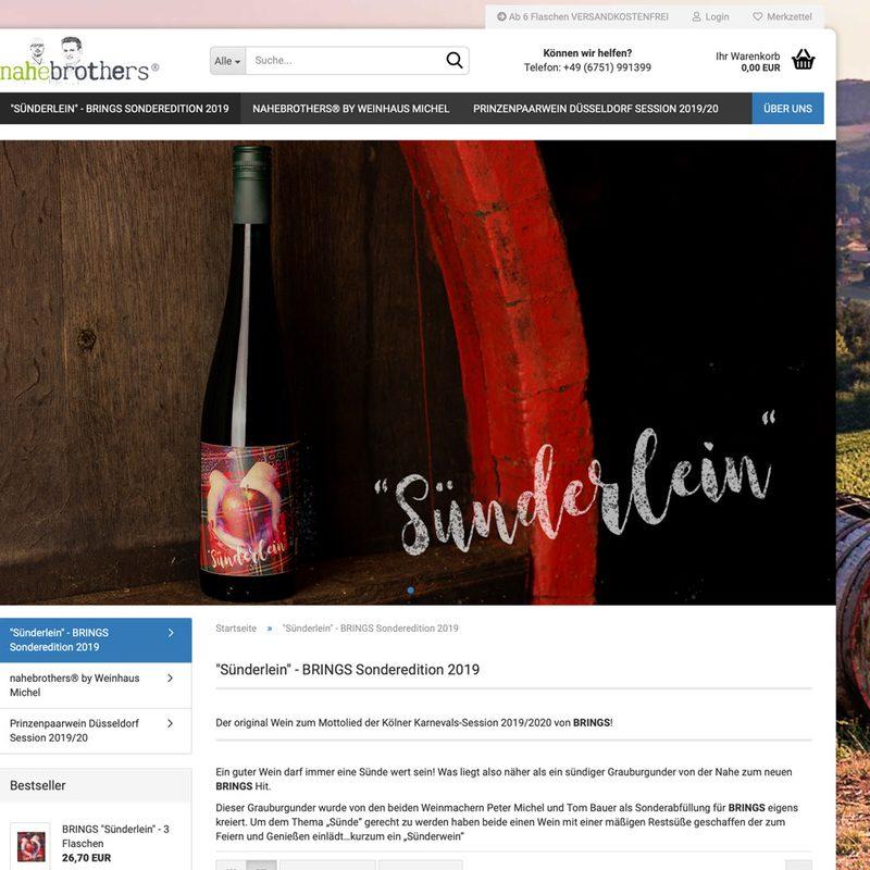 """suenderleinwein.de  """"Sünderlein"""" Der Wein zum Song von BRINGS. Webshop und Creative Consulting"""