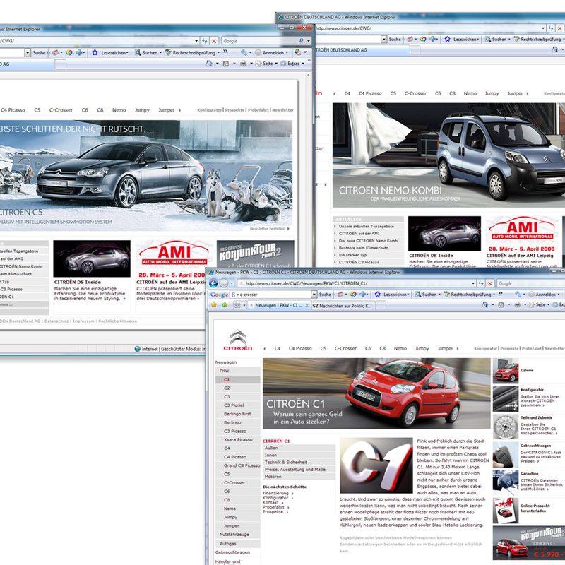 Citroën   Homepage, Händlerpages, Landingpages, Newsletter, Online-Werbemittel