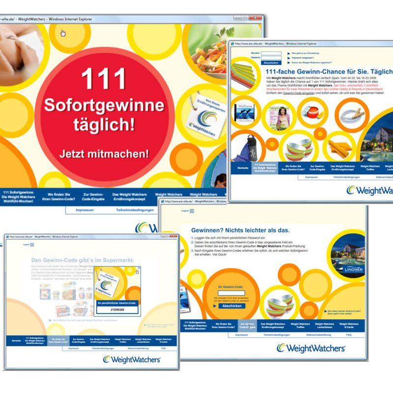 Weight Watchers   Beratung, Creation, Technische Realisation einer webbasierenden Onpack-Coupon Aktion